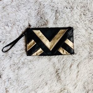 Forever 21 Black and Gold Clutch/ Wristlet